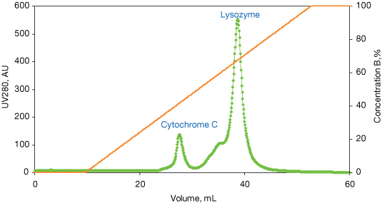 Separation of Lysozyme and Cytochrome C on Mustang S XT Acrodisc Unit